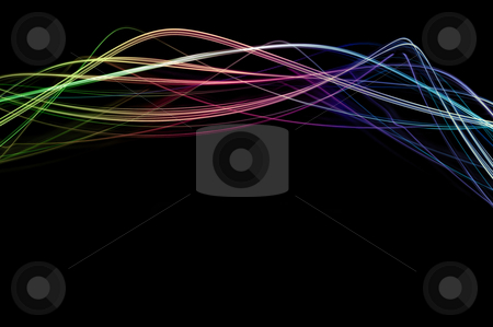 Light waves stock photo, Abstract background comprised of glowing traces of coloured light by Stephen Gibson
