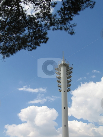 Stadium lantern stock photo, Very beautiful single lantern on a background of blue sky with clouds by Vladislav Chekanin