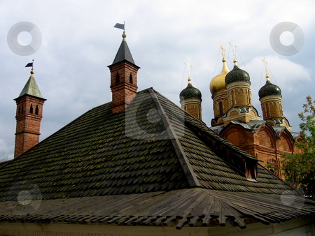 Old wood tile stock photo, Orthodox church with old tile in Moscow by Vladislav Chekanin
