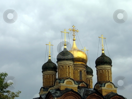 Old orthodox church stock photo, Beautiful orthodox church with gold dome in Moscow by Vladislav Chekanin