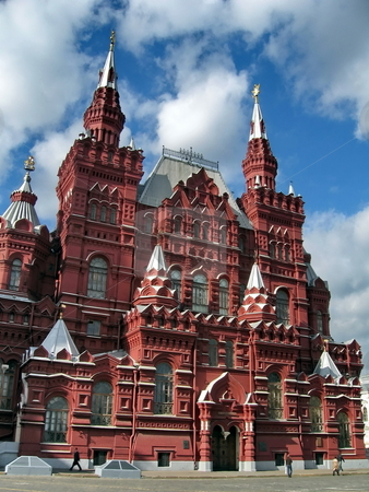 Historical museum stock photo, Red Moscow historical museum at Red Square at sunny day by Vladislav Chekanin