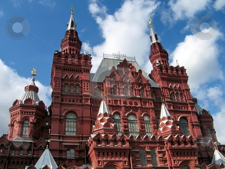 Moscow historical museum  stock photo, Red Moscow historical museum at Red Square at sunny day by Vladislav Chekanin