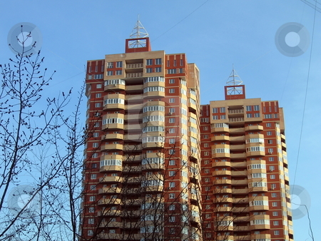 The twins stock photo, The two new apartment houses-twins at Moscow by Vladislav Chekanin