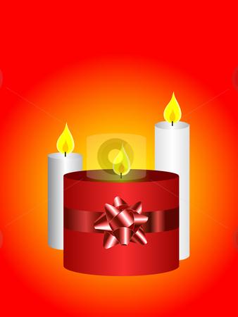 Christmas Candles Backgroun stock vector clipart, A vector illustration with a set of three candles on a red background can be used as christmas illustration by Mike Price