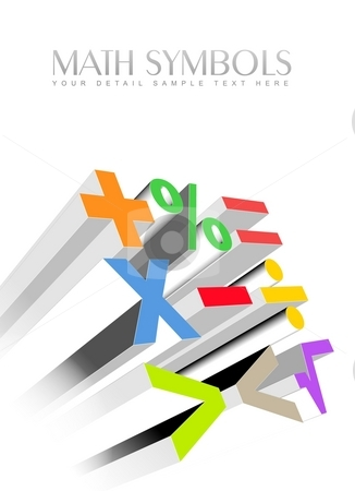 3d colorful math symbols stock photo, An illustration of 3d colorful math symbols by Sreedhar Yedlapati