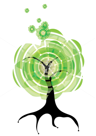 Tree stock vector clipart, Abstract summer tree, eps10 vector illustration by Milsi Art