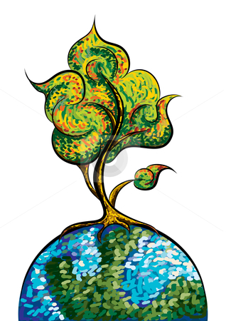 Art tree stock vector clipart, Abstract art tree, vector illustration by Milsi Art