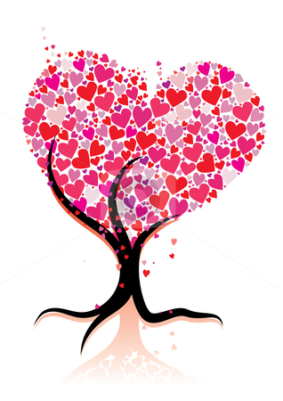 Love tree stock vector clipart, Abstract love tree, vector illustration by Milsi Art