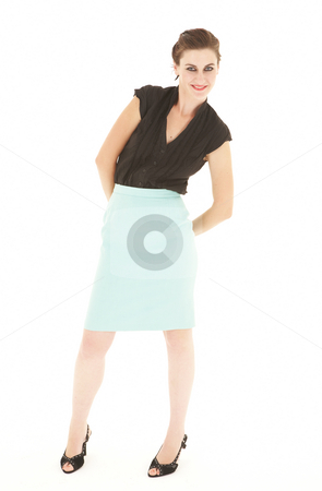 Sexy young adult Caucasian businesswoman stock photo, Sexy young adult Caucasian businesswoman in a tight black sexy blouse on a white background by Sean Nel