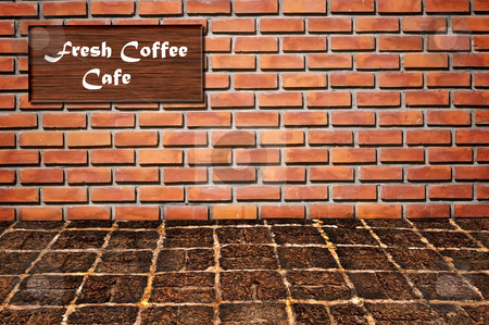 Coffee cafe as brickwall pattern stock photo, Coffee cafe as brickwall pattern background by Udomsak Insome