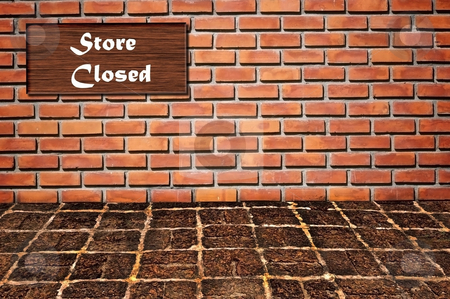 Store closed logo as brickwall stock photo, Store closed logo as brickwall pattern background by Udomsak Insome