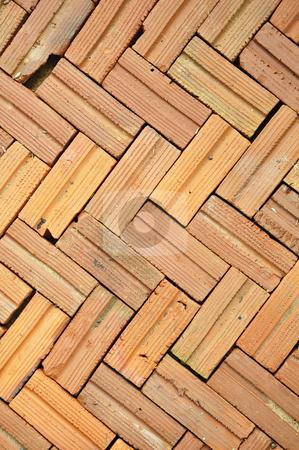 Brick floor pattern stock photo, Brick floor pattern background by Udomsak Insome