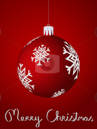 Red christmas ball stock vector clipart, Christmas card featuring a red christmas ball with snow flakes by nlrsss
