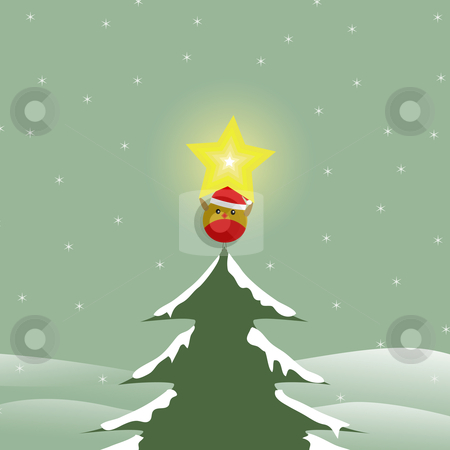 Bird on top of Christmas tree stock vector clipart, Vector image of a bird holding a star on a christmas tree by nlrsss