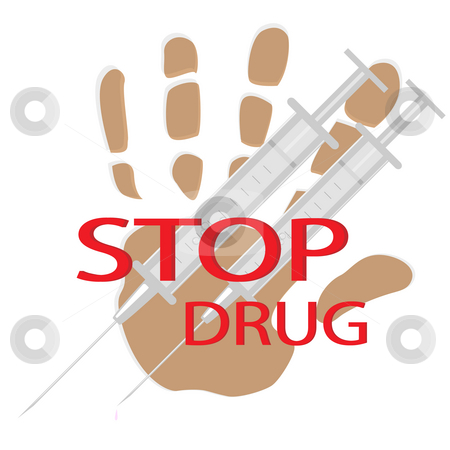 Stop drug stock photo, Palm print,the text and two medical syringes on pure bacground by Alina Starchenko