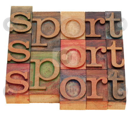 Sport word abstract stock photo, Sport word abstract in vintage wooden letterpress printing blocks isolated on white by Marek Uliasz