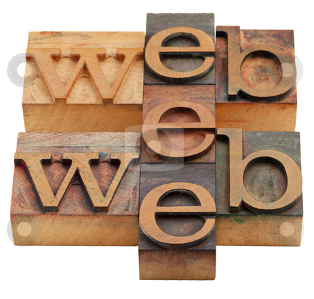 Web word abstract stock photo, Internet concept web word abstract in vintage wooden letterpress printing blocks isolated on white by Marek Uliasz