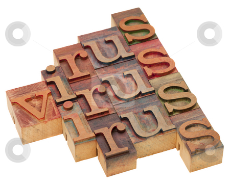 Virus word abstract stock photo, Virus word abstract - vintage wooden letterpress blocks isolated on white by Marek Uliasz
