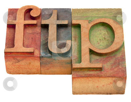 Ftp - file transfer protocol stock photo, Ftp (file transfer protocol) - word in vintage wooden letterpress printing blocks isolated on white by Marek Uliasz