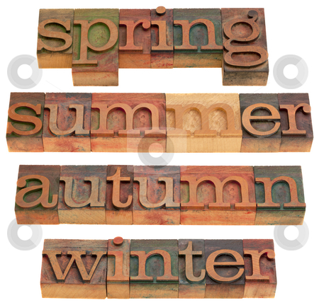 Spring, summer, autumn and winter stock photo, Four seasons (spring, summer, autumn and winter) in vintage wooden letterpress printing blocks isolated on white by Marek Uliasz