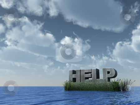 Help monument stock photo, Stone monument help at the ocean - 3d illustration by J?