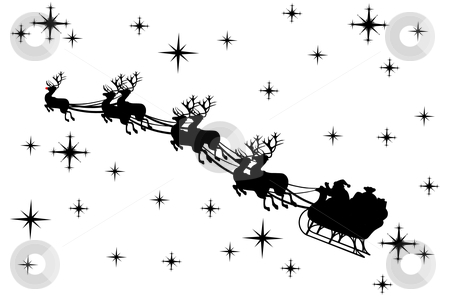 Santa Claus vector stock vector clipart, Santa claus driving in a sledge by Ioana Martalogu