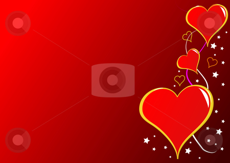 A red Valentines hearts vector background stock vector clipart, A valentines vector illustration with a series of hearts on the right hand side on a red graduated ground,can be used for love and romance by Mike Price