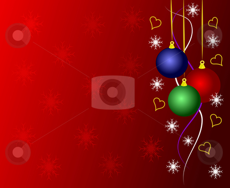An abstract Christmas vector illustration stock vector clipart, An abstract Christmas vector illustration with multicoloured baubles on a dark red backdrop with white snowflakes and room for text by Mike Price