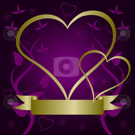 A purple and gold Valentines vector background stock vector