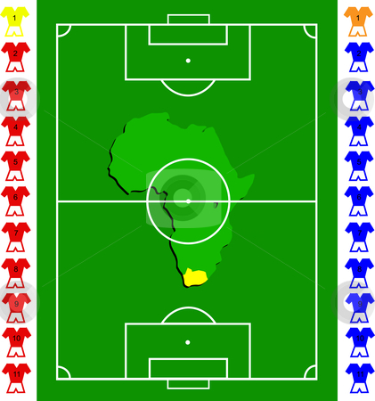 A soccer or football tactical vector  exact scale pitch stock vector clipart, A soccer or football tactical vector  exact scale pitch with amap of africa in the centre by Mike Price