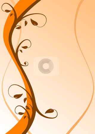 An abstract orange floral background on a lighter base with room stock vector clipart, An abstract orange floral background on a lighter base with room for text by Mike Price