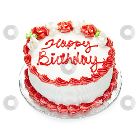 Birthday cake stock photo, Birthday cake with white and red icing isolated on white by Elena Elisseeva
