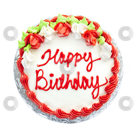 Birthday cake stock photo, Birthday cake with writing from above isolated on white by Elena Elisseeva