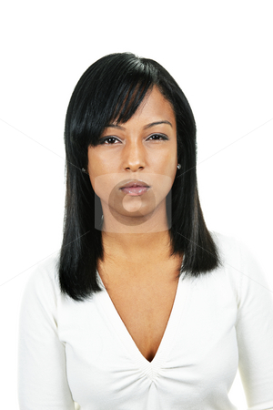 Young angry woman stock photo, Angry black woman portrait isolated on white background by Elena Elisseeva
