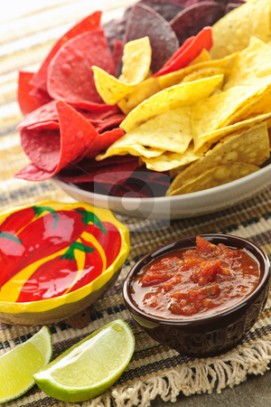 Tortilla chips and salsa stock photo, Bowl of salsa with colorful tortilla chips and lime by Elena Elisseeva