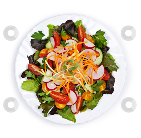 Garden salad stock photo, Plate of healthy green garden salad with fresh vegetables from above by Elena Elisseeva