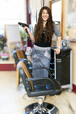 Hairstylist in hair salon stock photo, Happy hairdresser holding hairdryer in hair salon by Elena Elisseeva