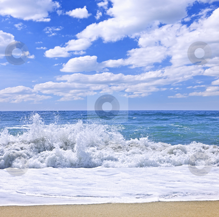 Ocean surf stock photo, Ocean surf crashing on pristine beach, Pacific Rim National park, Canada by Elena Elisseeva