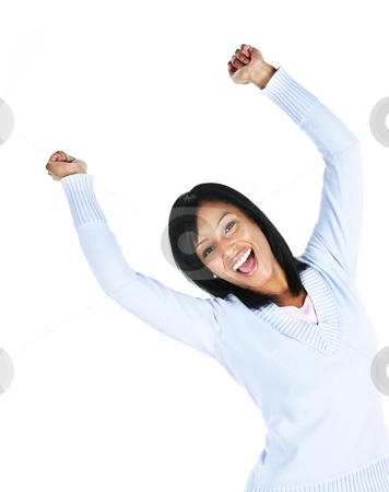 Happy young woman stock photo, Happy black woman with raised arms isolated on white background by Elena Elisseeva