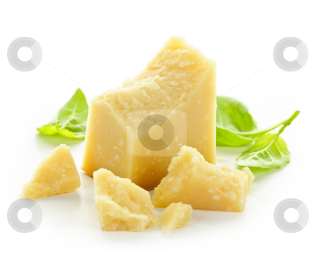 Parmesan cheese stock photo, Parmesan cheese pieces closeup on white background by Elena Elisseeva