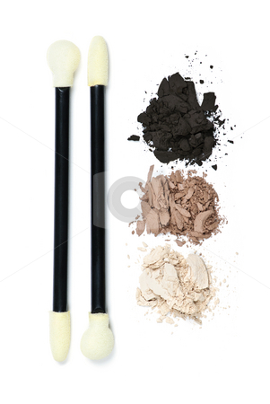 Eye shadow makeup with applicators stock photo, Eye shadow makeup applicators with crushed loose powder cosmetics by Elena Elisseeva