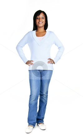 Confident young woman stock photo, Confident black woman standing isolated on white background by Elena Elisseeva