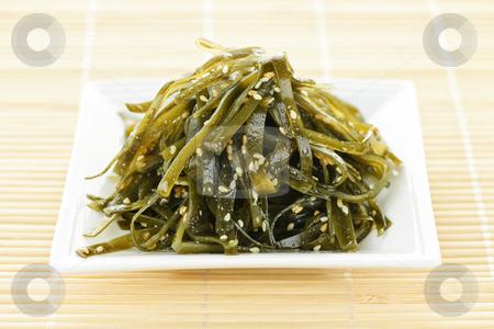 Seaweed salad stock photo, Plate of traditional japanese wakame seaweed salad by Elena Elisseeva