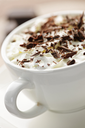 Hot chocolate stock photo, Hot cocoa with shaved chocolate and whipped cream by Elena Elisseeva