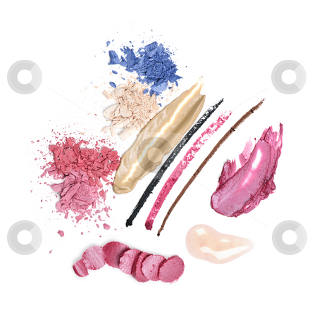 Makeup stock photo, Abstract smeared cosmetics and makeup on white background by Elena Elisseeva