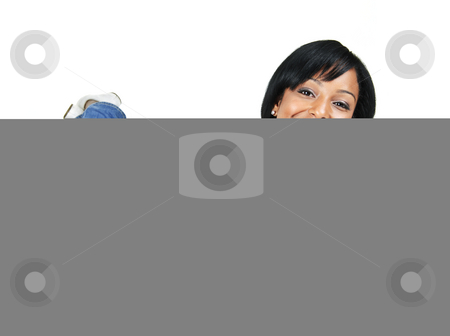 Smiling young woman relaxing laying down stock photo, Portrait of black woman smiling laying isolated on white background by Elena Elisseeva