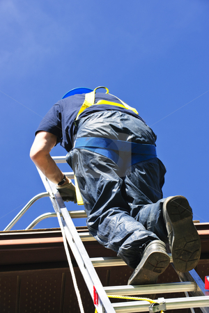 Construction worker climbing ladder stock photo, Construction worker climbing extension ladder to roof by Elena Elisseeva
