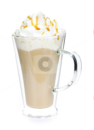 Caffe latte coffee stock photo, Caffe latte coffee with whipped cream isolated on white background by Elena Elisseeva