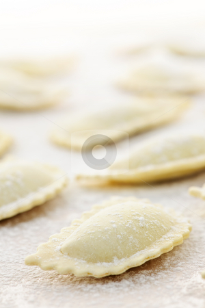 Uncooked ravioli stock photo, Uncooked ravioli pasta prepared and ready for cooking by Elena Elisseeva