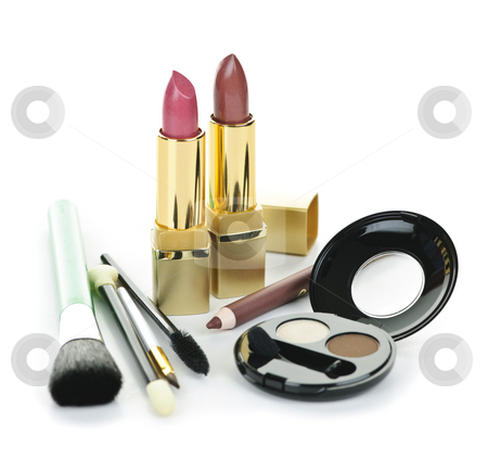 Makeup and cosmetics stock photo, Cosmetic makeup kit with brushes isolated on white background by Elena Elisseeva